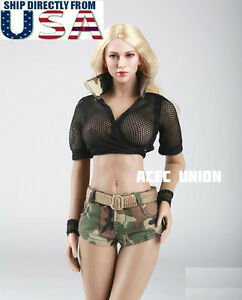 """Militaire 1//6 Tenues Jeans Short Set pour 12/"""" Phicen Hot Toys figure féminine USA"""