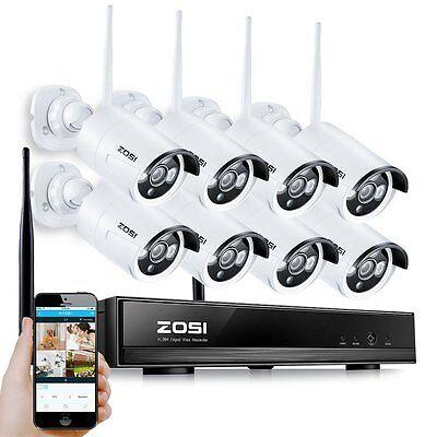 ZOSI 8CH Wireless HD 960P NVR Funk Überwachungsset Outdoor WLAN IP Kamera System