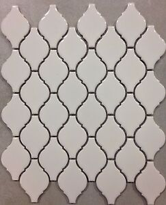 Image Is Loading White Arabesque Porcelain Lantern Mosaic Tile Kitchen Backsplash