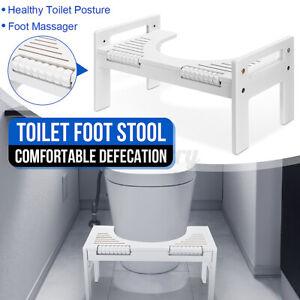 Bamboo Adjustable Toilet Step Stool Bathroom Footstool Potty Proper Toilet Seats