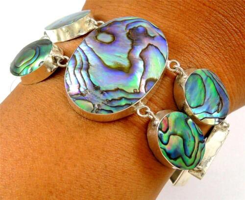 Natural Paua Abalone Shell Sterling 925 Déclaration Bracelet en argent bijoux SD121