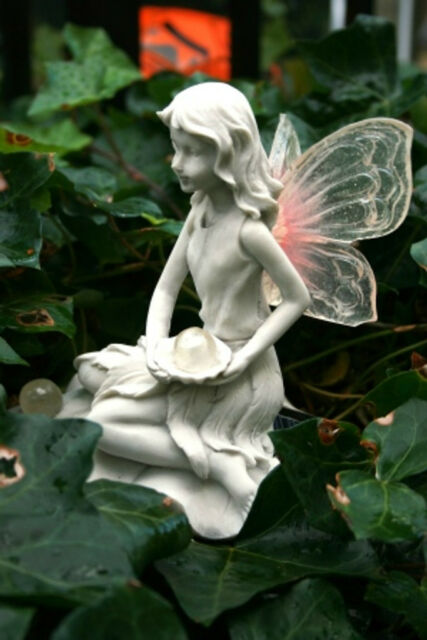 Beautiful Felicity Fairy Garden Ornament With Solar Light Up Wings U0026 Ball