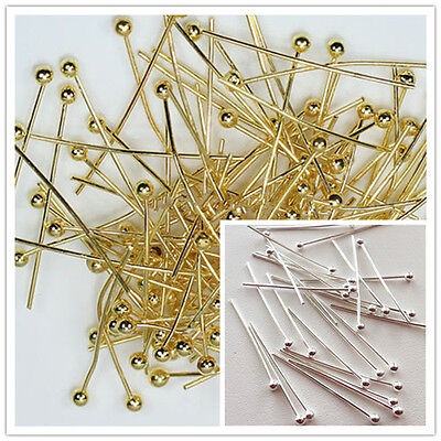 25/30/45/50mm Silver/Gold Plated Copper Ball Head Pins 1000pcs