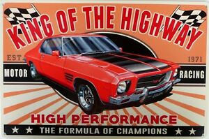 KING-OF-THE-HIGHWAY-MONARO-GTS-V8-SEDAN-Auto-Memorabilia-Metal-tin-Sign