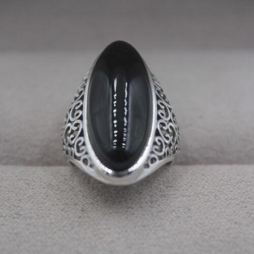 Neuf Solide 925 Argent Sterling Avec Naturel Long Noir Agate ring Taille 4-10