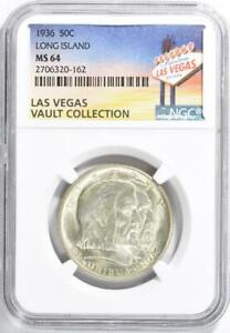 1936-Long-Island-Silver-Commemorative-Half-Dollar-NGC-MS-64-Casino-Vault