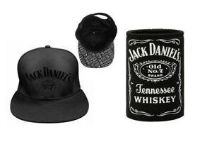 SET-OF-2-JACK-DANIELS-OLD-NO-7-FLAT-PEAK-SNAP-BACK-HAT-BOTTLE-LABEL-CAN-COOLER