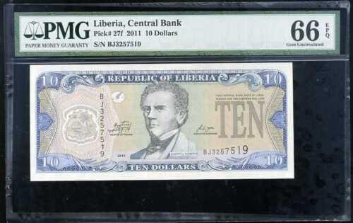 LIBERIA 10 DOLLARS 2011 P 27 PMG 66 GEM UNC EPQ