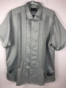 Men-039-s-Guayabera-Blue-Embroidered-Copacabana-Cigar-Wedding-Shirt-2XL-48-Vintage