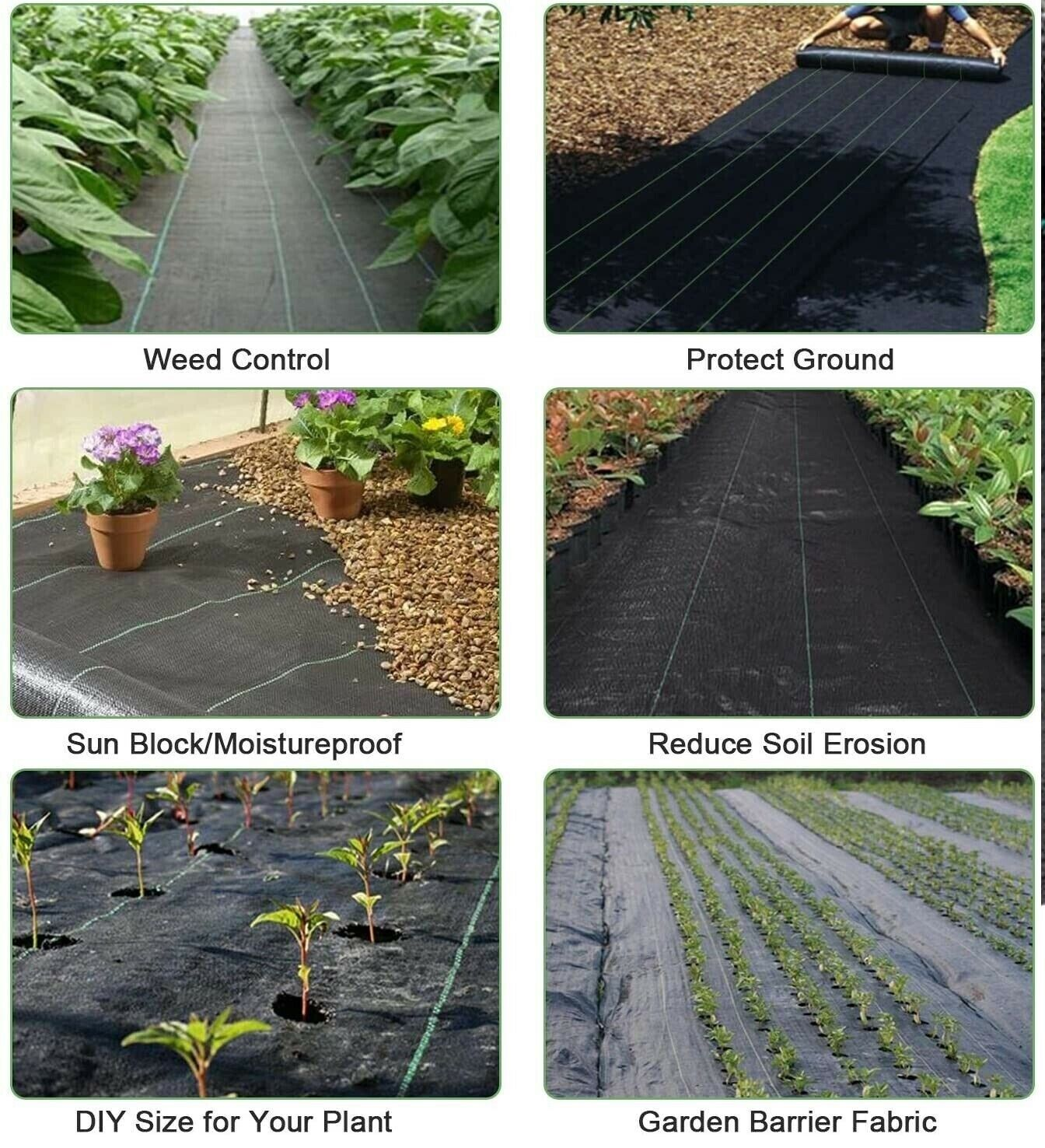 Heavy Duty Weed Control Fabric Membrane Garden Ground Cover Mat Landscape 90Gsm