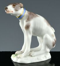 RARE ANTIQUE MEISSEN MINIATURE SITTING GREYHOUND WHIPPET DOG FIGURE FIGURINE #2