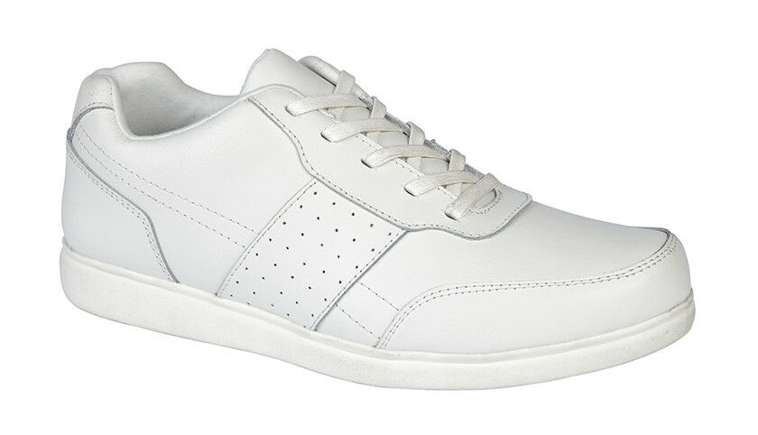 Dek T886G  Strike  Mens White Coated Leather Lace Up Bowling shoes Trainers