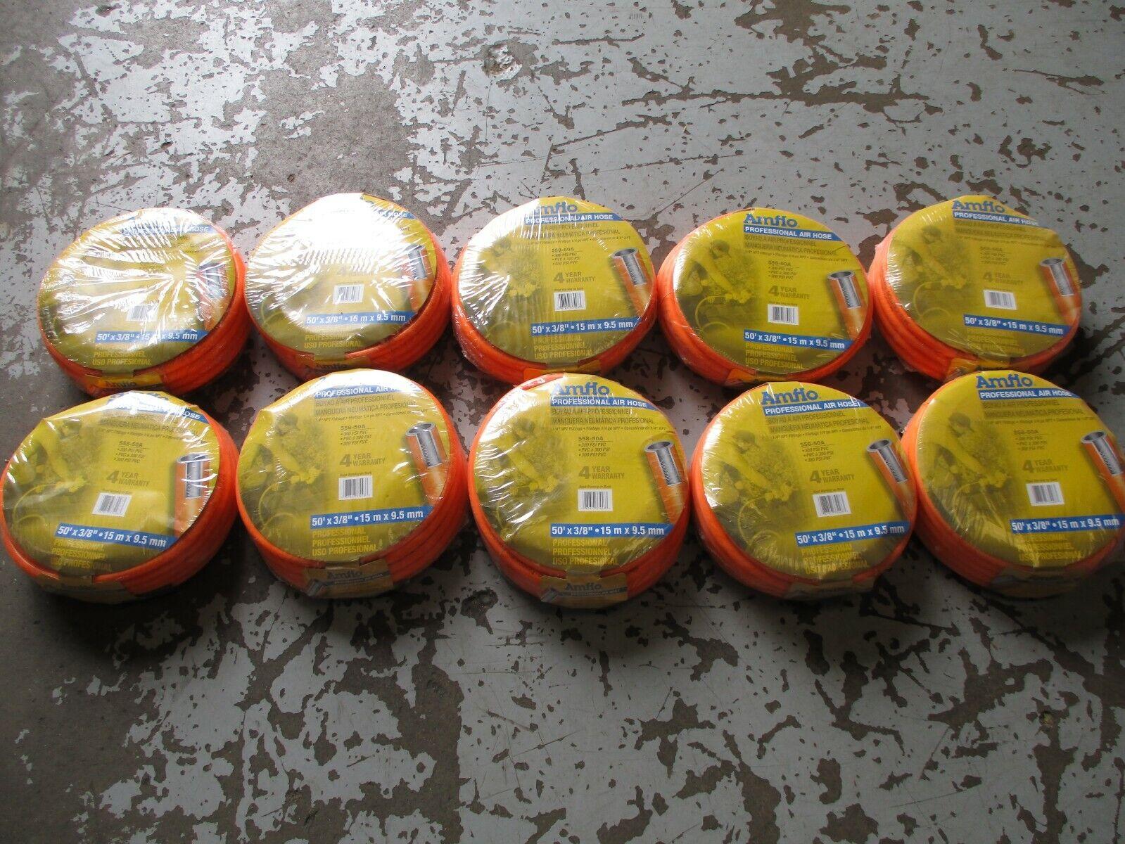 10 PK AMFLO PRO AIR HOSE PART   558-50A 50' x 3 8  1 4  NTP FITTINGS 300 PSI PVC