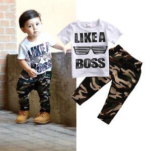 Casual-Newborn-Kids-Baby-Boy-T-shirt-Tops-Camo-Pants-Outfits-2Pcs-Set-Clothes