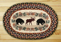 Black Bears & Moose 100% Natural Braided Jute Placemat, 13 X 19, By Earth Rugs