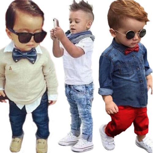Kinder Baby Jungen Gentleman Hemd Top Denim Jeans Lang Hosen Outfits Set Anzug