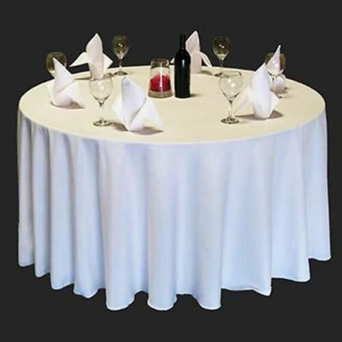 12 90 inch ROUND Tablecloth Polyester WEDDING Banquet Overlay 25 Colors USA