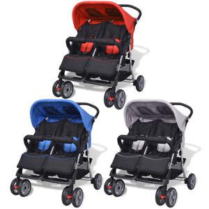 vidaXL Passeggino Gemellare Bambini Regolabile Acciaio Carrozzina Colori Vari