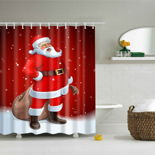 Colorful Christmas Series Pattern Waterproof Bathroom Shower Curtain With Hooks