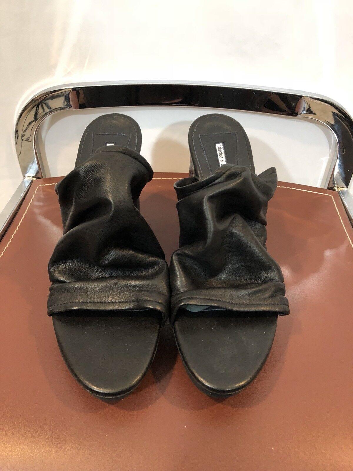 Dusica Sacks Italian Black Leather Platform Slide Heels Size 40 US 9.5