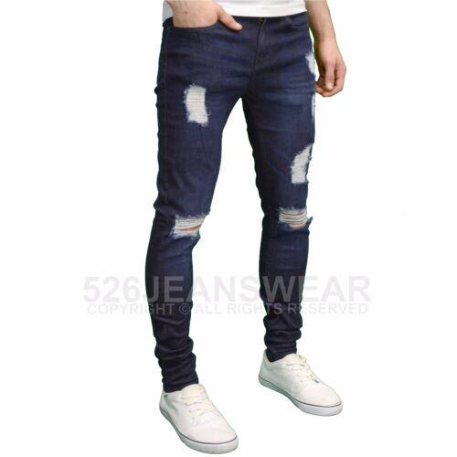 Enzo Mens Designer Branded Ripped Super Stretch Skinny Distressed Jeans BNWT