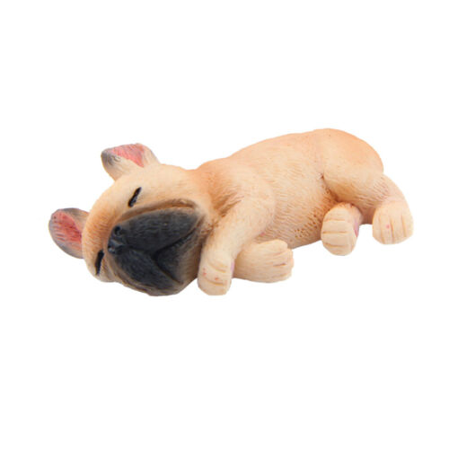 4 Pieces Resin Mini Lying Corgi Dog Bulldog Puppy Figurine Figure Miniature