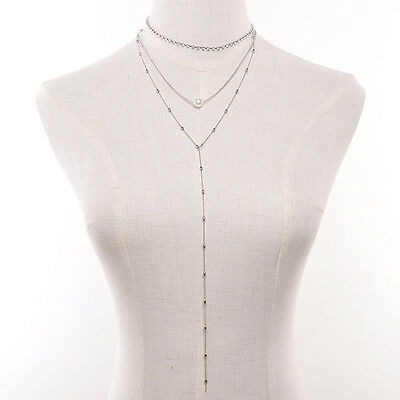 Women Chain Pearl Bib Choker Pendant Charm Statement Necklace Fashion Jewelry
