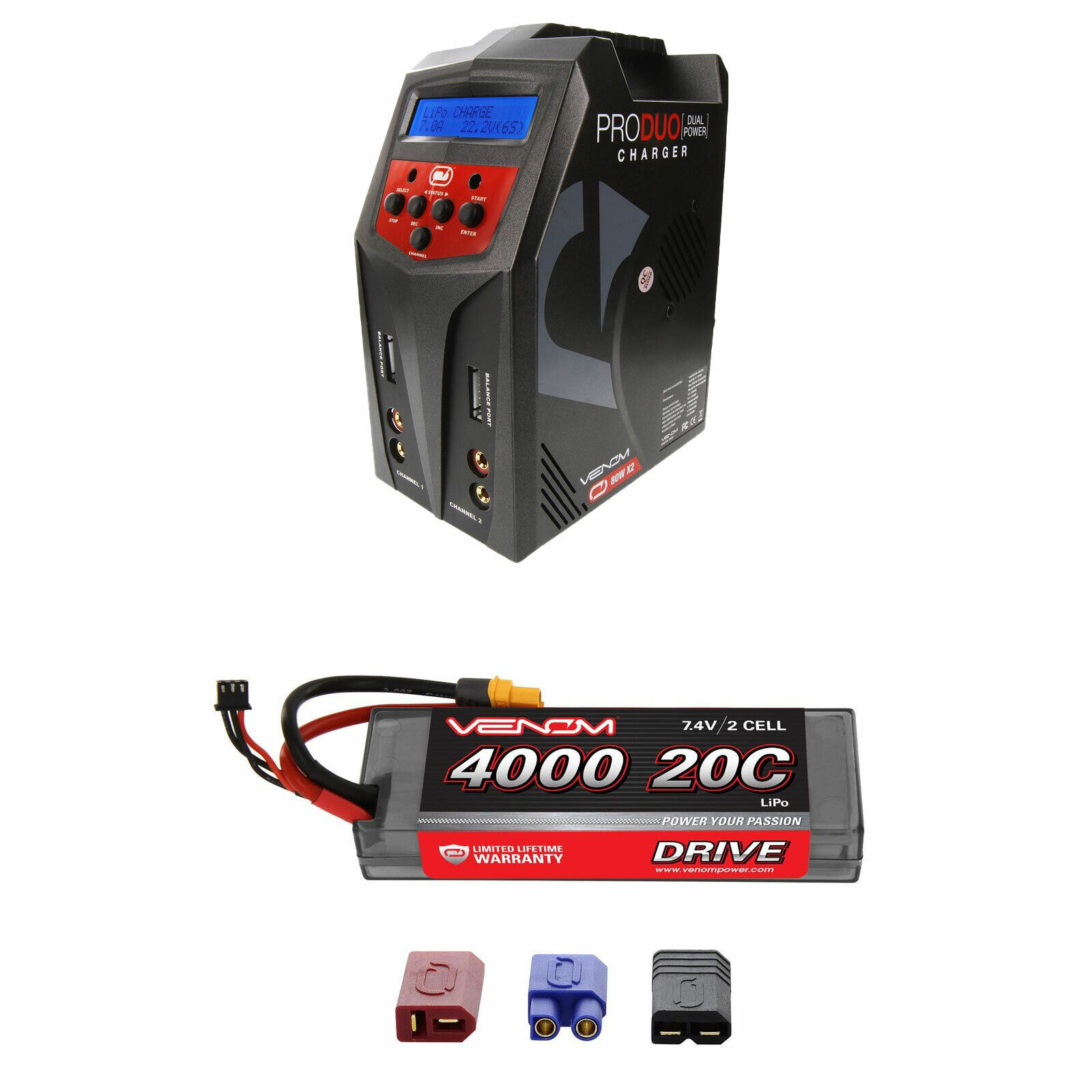 Venom 20C 2S 4000mAh 7.4V Batería Lipo Con Pro Duo Cargador Combo