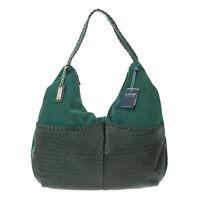 Arcadia Italian Made Green Suede & Leather Double Pocket Large Designer Hobo Bag
