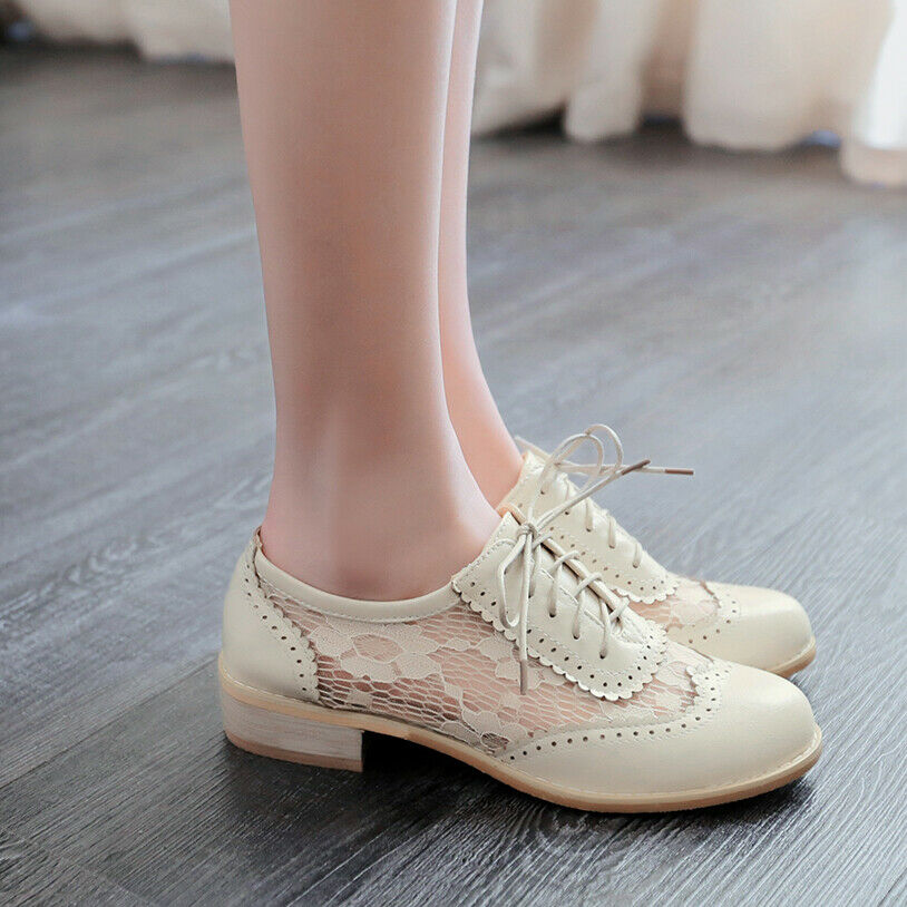 Brogue Wingtip Women Block Heels Lace Mesh Lace Up Collegiate Retro Pumps shoes