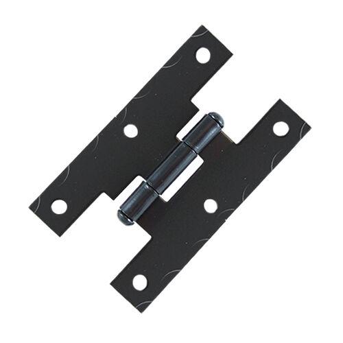 JH001BL 6 Pcs Black Smooth Iron Flush Non-Self Closing H Style Cabinet Hinge