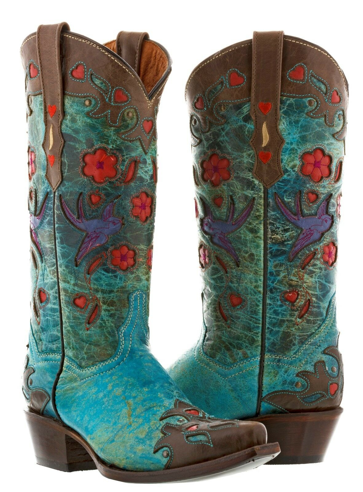 Para Mujer Marrón Cuero Occidental Occidental Occidental Rodeo Vaquera Turquesa Robin botas de vaquero flores  buena calidad