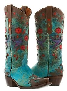 Womens-Brown-Turquoise-Robin-Western-Leather-Rodeo-Cowgirl-Cowboy-Boots-Flowers