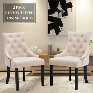 Details About Set Of 2 Dining Chairs Elegant Button Tufted Beige Pattern  Fabric Dining Room