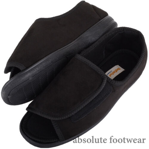 Gents EEE Wide Fitting Slippers Mens Boots with Ripper Fastening Open Toe