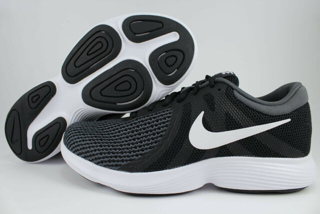 sports shoes 25f97 298b1 NIKE REVOLUTION 4 EXTRA WIDE 4E EEEE BLACK WHITE DARK GRAY RUNNING US MENS
