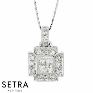 Sparkling cross design round princess cut diamond pendant fine 14k image is loading sparkling cross design round amp princess cut diamond aloadofball Image collections
