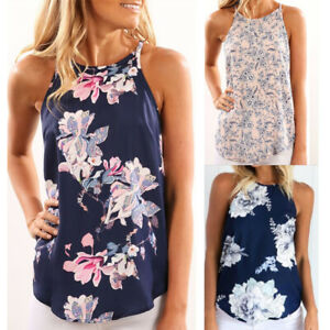Womens-Ladies-Loose-Floral-Casual-Holiday-Tee-Cami-Summer-Shirt-Blouse-Vest-Tops