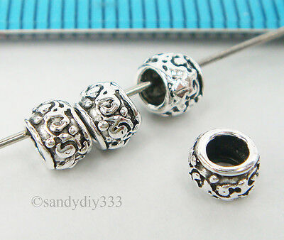 4x OXIDIZED STERLING SILVER ROSE FLOWER RONDELLE SPACER BEAD 5.4mm 4.1mm #2866