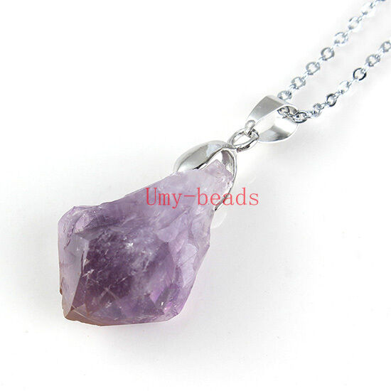 Natural Druzy Amethyst Quartz Crystal Stone With Chain Pendant Necklace Jewelry