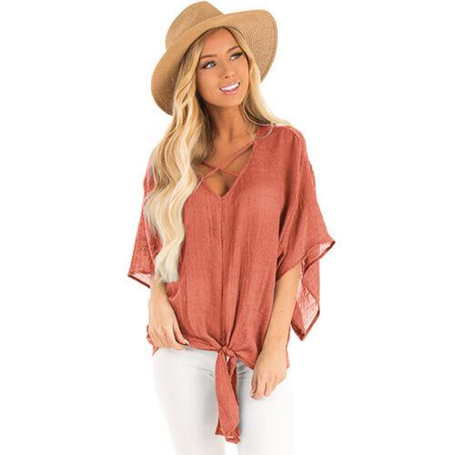 Damen Kreuz V-Ausschnitt Batwing Ärmel Baggy Freizeit Top T-Shirt  Bluse Sommer