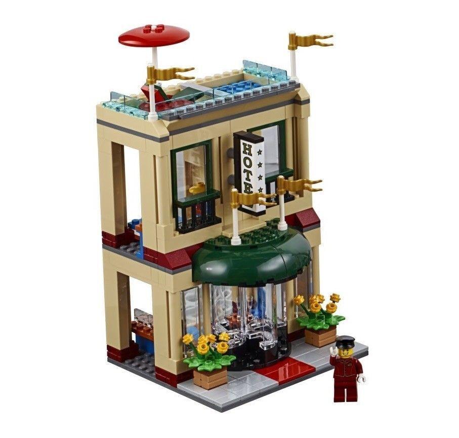 LEGO City Two Storey Hotel & Bellhop Minifigure Train Town Scenery Idea