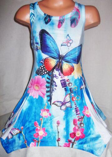GIRLS BLUE TYE DYE BUTTERFLY PRINT LACE TRIM RAG HEM SPORTY DANCE PARTY DRESS