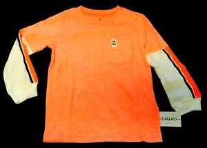 NWT-Carter-039-s-Boys-3T-Neon-Orange-Pocket-Layered-Look-Long-Sleeves