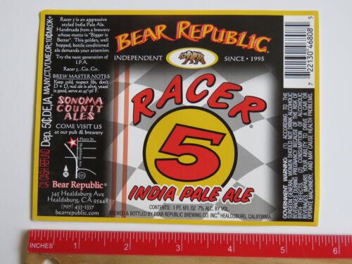 BEER LABEL ~ Bear Republic Brewing Racer 5 IPA ~ Healdsburg CALIFORNIA; Est 1995