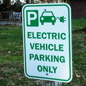 Reflective Electric Car Vehicle Charging Sign Parking Tesla EV Heavy Grade metal