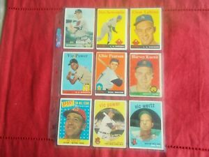 1950's-(9)CARD LOT TOPPS LOW GRADE