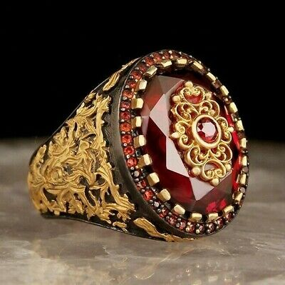 Turkish Jewelry 925 Sterling Silver with ruby red stone Mens ring ALL SİZE USA