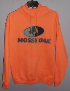 Mossy-Oak-Mens-Blaze-Orange-Small-Pullover-Hooded-Fleece-Sweatshirt-Hoodie-New