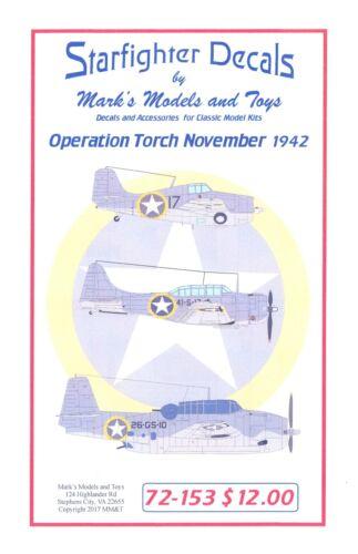 NAVY AIRCRAFT OPERATION TORCH NOVEMBER 1942 Starfighter Decals 1//72 U.S